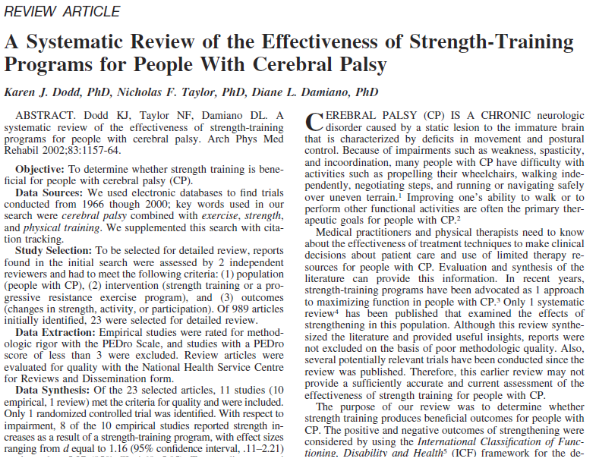 movement and strength of children with cerebral palsy